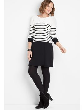 Black And White Stripe Sweater Dress by Maurices