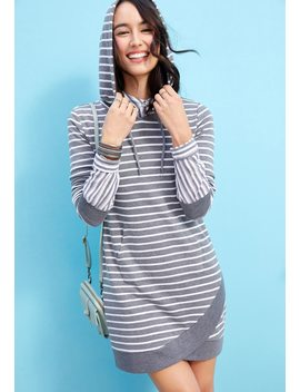 Hooded Stripe Sweatshirt Dress by Maurices