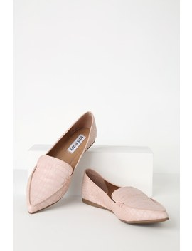 Feather Pink Crocodile Embossed Pointed Toe Flats by Steve Madden