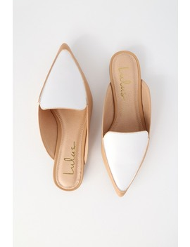 Joelle Color Block White And Nude Loafer Slides by Lulus