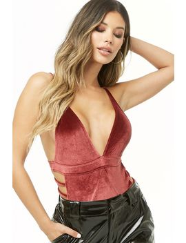 Velvet Ladder Cutout Bodysuit by Forever 21