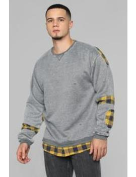 Will Flannel Pullover   Grey/Yellow by Fashion Nova