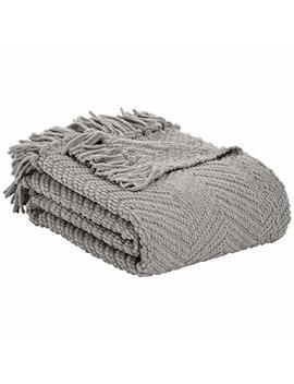 """Amazon Basics Chunky Knitted Fringed Blanket   Light Grey, 60"""" X 80"""" by Amazon Basics"""