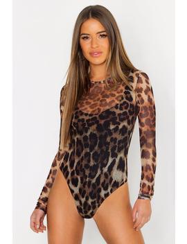 Petite Leopard Print Mesh Bodysuit by Boohoo