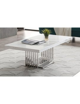 Leiston Modern Marble & Stainless Steel Coffee Table by Everly Quinn
