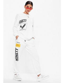 White Racer Oversized Long Sleeve Sweater by Missguided