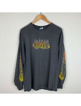 Vtg 90s Y2 K Distressed Think Skateboards Fire Logo Long Sleeve T Shirt  Sz Large by Think