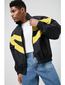 Chevron Piped Trim Windbreaker by Forever 21