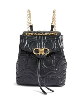 Quilted Gancio Leather Backpack by Salvatore Ferragamo