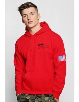 Nasa Chest And Sleeve Print Hoodie by Boohoo