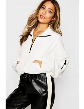 Zip Front High Neck Sweat by Boohoo