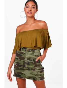 Basic Off The Shoulder Frill Crop Top by Boohoo