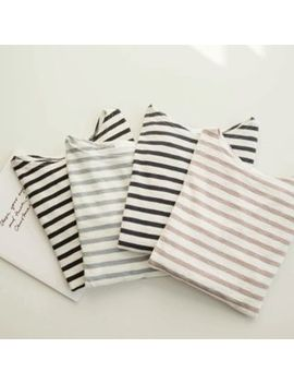 Justone   Round Neck Striped T Shirt by Justone