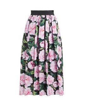 Peony Printed Cotton Poplin Midi Skirt by Dolce & Gabbana