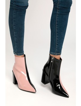 Briana Blush And Black Patent Color Block Ankle Booties by Lulu's