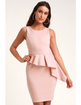 Here And Vow Light Pink Sleeveless Ruffled Bodycon Dress by Lulus