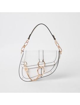 White Croc Embossed Saddle Underarm Bag by River Island