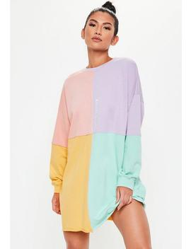 Pink Oversized Colourblock Sweater Dress by Missguided