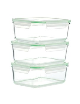 Kinetic Go Green Glassworks Series 6 Piece Rectangular Oven Safe Glass Food Storage Container Set, 54 Ounce Each (3 Containers And 3 Lids) by Kinetic