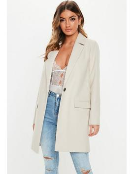 Cream Front Button Slim Coat by Missguided