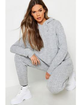 Cable Knit Hooded Loungewear Set by Boohoo