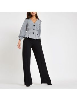 Grey Check Button Front Top by River Island