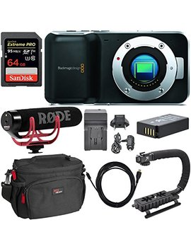 Blackmagic Pocket Cinema Mirrorless Camera, Rode Video Mic Go, San Disk 64 Gb Extreme Memory Card, Dslr Camera Bag, Professional Video Grip, Replacement Battery, Battery Charger And Accessory Bundle by Calumet