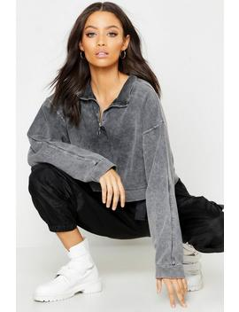 Washed Oversized Zip Front Sweat by Boohoo