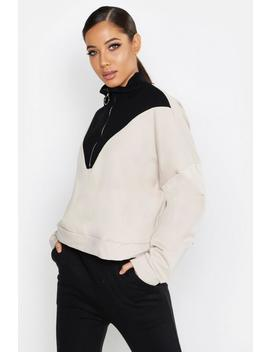 O Ring Zip Funnel Neck Sweat by Boohoo