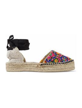 Basketweave And Embroidered Canvas Espadrilles by ManebÍ