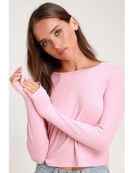 Hollis Light Pink Ribbed Long Sleeve Crop Top by Lulus Basics
