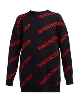Logo Patterned Wool Blend Sweater by Balenciaga