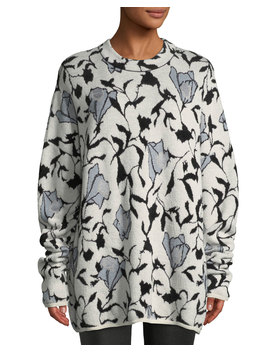 Killa Crewneck Floral Jacquard Sweater by Neiman Marcus