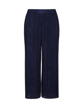 Petite Navy Plisse Cropped Trousers by Dorothy Perkins