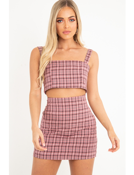 Pink Checked Crop Top   Bianka by Rebellious Fashion