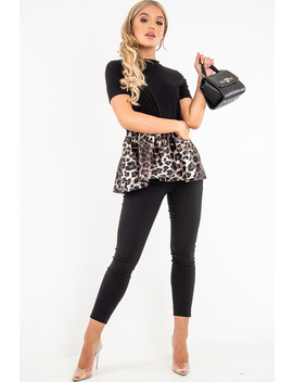 Black Leopard Print Satin Ruffle Hem T Shirt   Mailyn by Rebellious Fashion