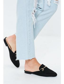 Black Faux Suede Flat Mules by Missguided