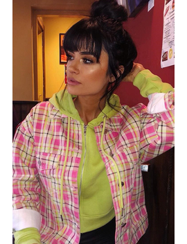 Pink Check Crop Denim Jacket   Dakira by Rebellious Fashion