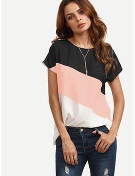 Kurzärmlige Bluse Mit Color Blocks by Shein