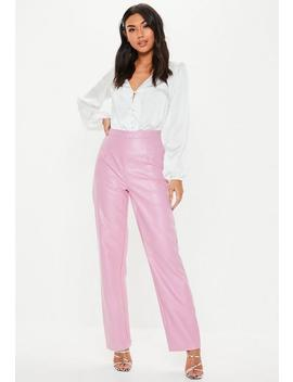 Pink Faux Leather Straight Leg Trousers by Missguided