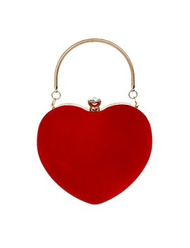 Labanca Womens Heart Shape Handbag Clutch Suede Party Bag Tote Purse Bag by Labanca
