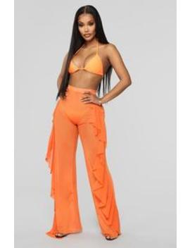 Sunshine See Through Cover Up Pant   Orange by Fashion Nova