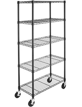 Amazon Basics 5 Shelf Shelving Unit On 4'' Casters, Black by Amazon Basics