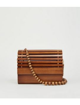 Dark Brown Slalted Wood Shoulder Bag by New Look