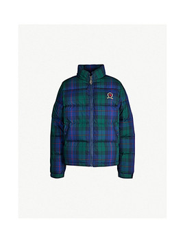 Checked Padded Cotton Puffer Jacket by Tommy Jeans