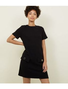 Black Bouclé Pocket Front Tunic Dress by New Look