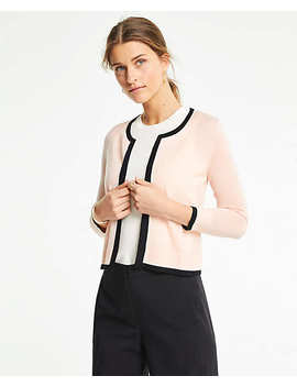 Tipped Cropped Open Cardigan by Ann Taylor