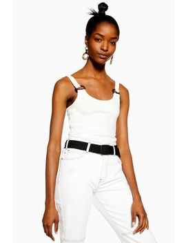 Petite Buckle Ribbed Crop Cami by Topshop