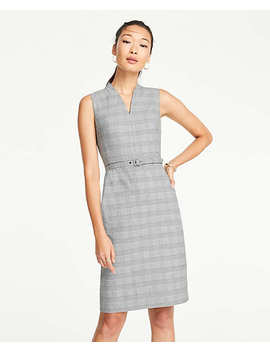 Glen Plaid Belted Sleeveless Dress by Ann Taylor