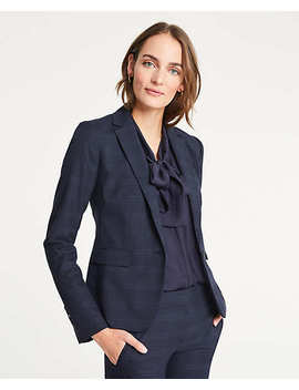 Windowpane One Button Blazer by Ann Taylor